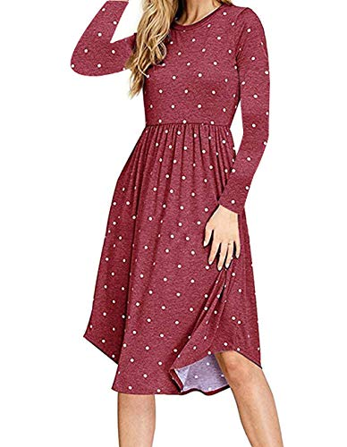 Womens Fashion Fall Polka Pot Pockets Loose Casual Swing Maxi Party Dress Top(Wine Red,L)