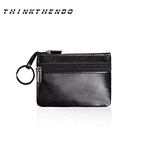 Leather Coin Purse Fashion Women Men Kids Mini Wallet Ladies Double Zipper Coin Purse Multifunctional Small Coin Credit Card Key Ring Wallet
