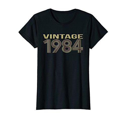 Womens Vintage T-shirt 1984 Funny 34 Years Old 34th Birthday Gift Medium Black - 1984 Black T-shirt