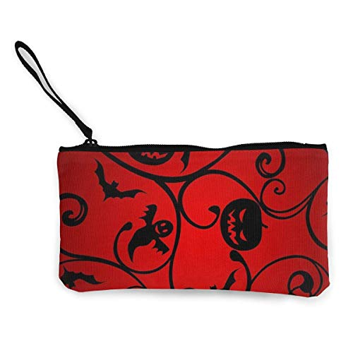 Coin Purse Halloween Pattern Wallpaper Background Cute Travel Makeup Pencil Pen Case With Handle Cash Canvas Zipper Pouch 4.7