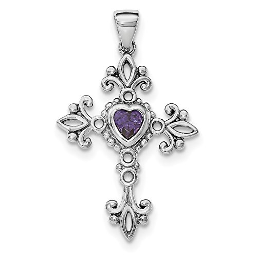 925 Sterling Silver Rhodium Plated Amethyst Cross Pendant