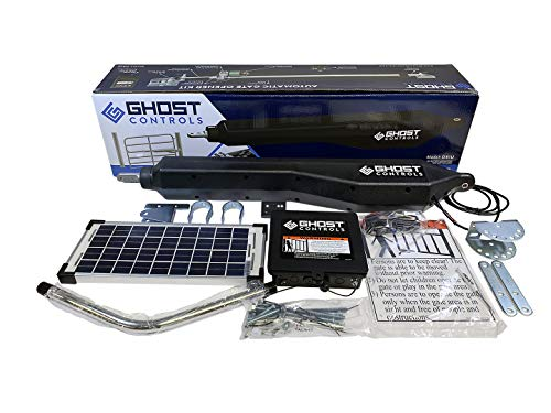 Ghost Controls Architectural Series Automatic Gate Opener Kit Without Battery Box for Swing Gates Up to 900 lbs. or 20 Feet (ft.) in Length (3. DS1UXP Single Solar Kit)