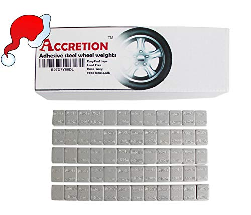 Accretion 1/4 Oz, 0.25 Oz, Grey, Wheel Weights (Lead Free), USA Made White Tape-2 mm Wide. Easy to Peel. Low Profile, 90 Oz Total, 3 Oz/Strips, 5.6 Lbs(360 Pcs)