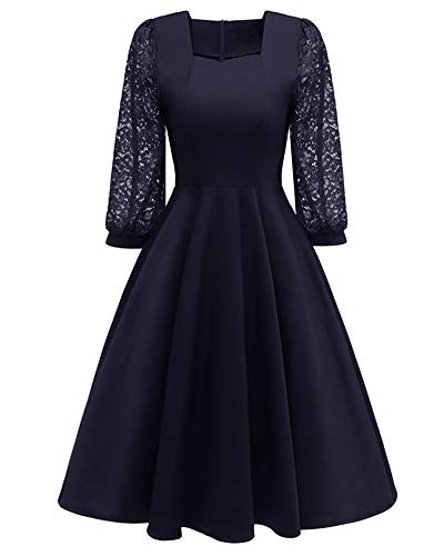 BeneGreat Pockets 4 Women's 3 Navy1 with Neck Lace Swing Work Floral Cocktail Sleeve Party Square Dress 6H6qInr