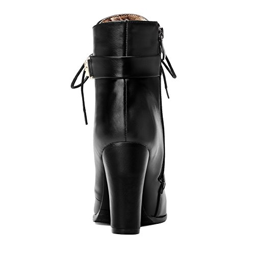 Low Solid Boots top Women's Toe Closed Heels PU High Black AgooLar Round Sx47qwF