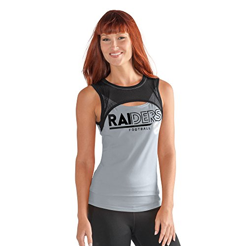 Oakland Raiders Tank - GIII For Her NFL Oakland Raiders Women's Power Up! Tank, Small, Silver