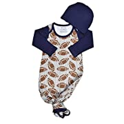 Infant Baby Tie Nightgown and Matching Hat   Sleep Gown with A Tie Bottom   Boy Girl Unisex   Soft Stretchy Cotton Sleeper (Football, 0-3 Month)