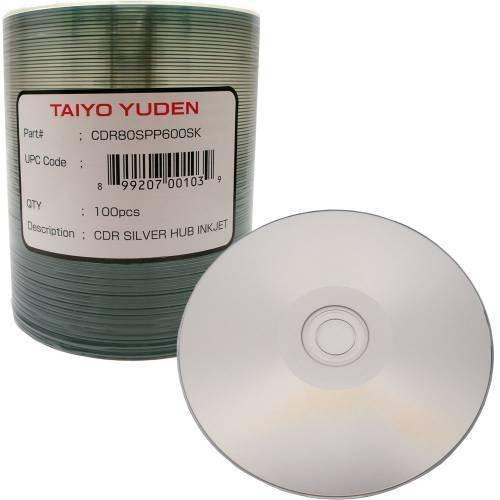 JVC (Taiyo Yuden) CDR Silver/Hub Printable Ink Jet/80Min 100 Pack by JVC
