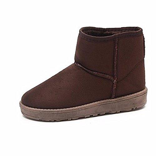 ZHUDJ Damenschuhe Herbst Winter Komfort Snow Boots Flachem Absatz - Kalb Stiefel Für Casual Burgund Rot Rosa Braun Kaffee Brown