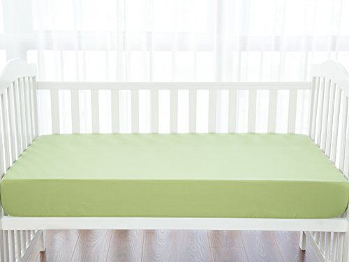 TILLYOU Silky Soft Microfiber Crib Sheet, Breathable Cozy Hypoallergenic Toddler Sheets for Boys and Girls, 28 x 52in Fits Standard Crib & Toddler Mattress, Pea Green ()