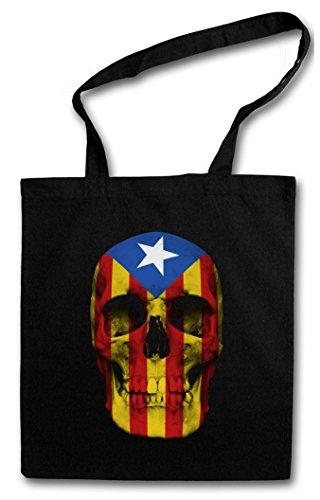CATALONIA SKULL FLAG Hipster Shopping Cotton Bag Borse riutilizzabili per la spesa