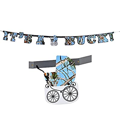 Havercamp Baby Boy Camo Banner (It's a Buck, 7 1/2 Feet Long, 7 Inch Letters, Gender Reveal Banner) Gender Reveal Party Collection: Toys & Games