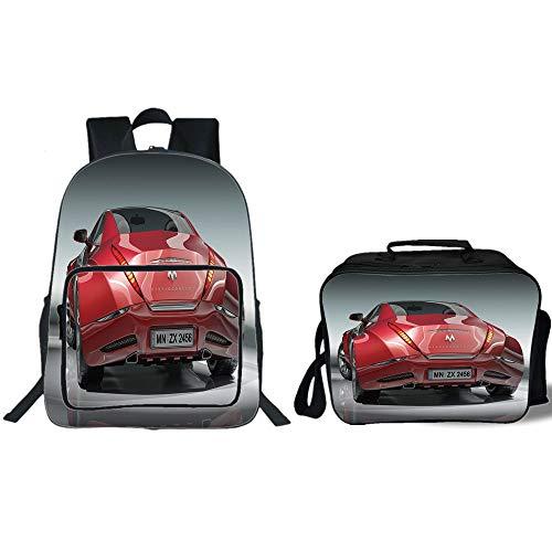 "iPrint 19"" School Backpack & Lunch Bag Bundle,Cars,Red Sport"
