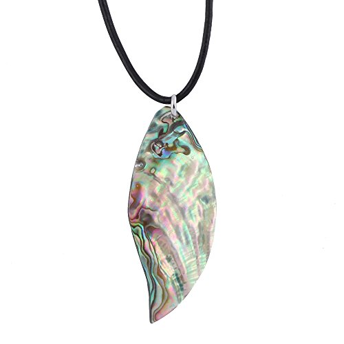 PANGRUI Natural Abalone Shell Leaf Shaped Pendant Necklace,No Modification