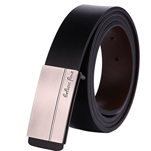[Beltox Fine Men's Genuine Leather Belts Plaque Buckle Belt Black and Light Brown (34-39, black)] (Leather Plaque Buckle Belt)