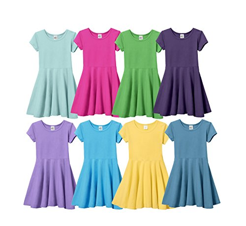City Threads Girls#039 Cotton Short Sleeve Skater Party Twirly Dress