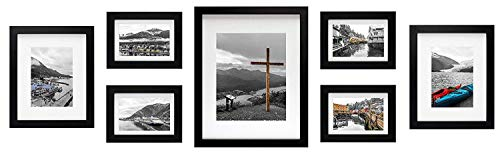Golden State Art, Black 7 Pack Gallery Wall Set - Includes: 11x14 Inch with 8x10 inch Matte Opening, Two 8x10 inch with 5x7 Matte Openings, Four 5x7 inch with 4x6 -