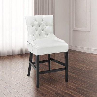 Uptown Club Paris White Faux Leather and Wood Counter-height Chair (Paris Chair Club)