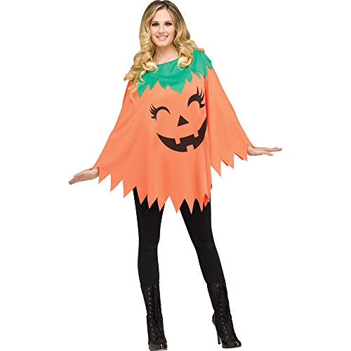 (Pumpkin Poncho for Halloween, School Acting, Costume Party, for Women Adult Size (1)