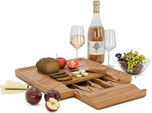 Miko Bamboo Cheese Board With Slide Out Drawer And Cutlery Utensils, 5 Piece Set
