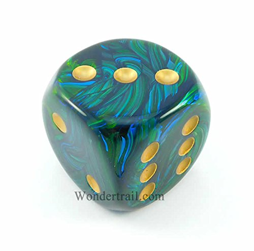 Scarab 50mm Huge Large D6 Chessex Dice, 1 Piece - Jade with