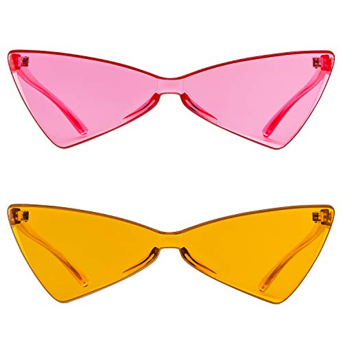 Colorful One Piece Rimless Transparent Cat Eye Sunglasses for Women Tinted Candy Colored Glasses (b025 pink+orange)