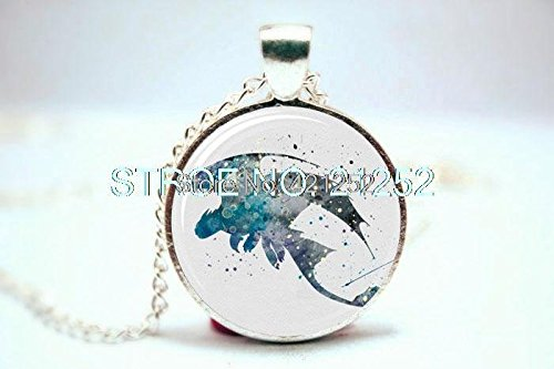 Pretty Lee 2015 Fashion How To Train Your Dragon Dragon Night Fury Art Print Necklace Glass Photo Cabochon Necklace Christmas gift Sterling Silver Dragon Art