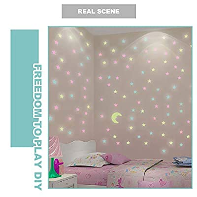 Star Moon Creative Luminous Wall Decal Sticker Simulating Night Sky Effect on Dark Wall or Ceiling: Arts, Crafts & Sewing