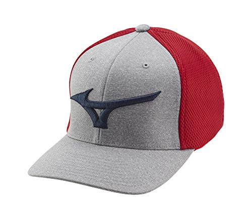 Mizuno Fitted Meshback Golf Hat, Red-Navy, One Size
