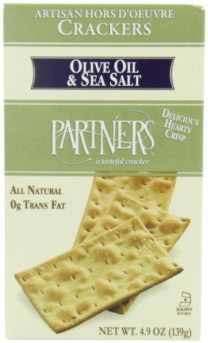 Crackers Olive Oil - Partners Olive Oil & Sea Salt, Hors D'oeuvre Crackers, 4.9-Ounce Boxes (Pack of 6)