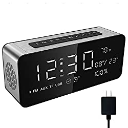 Soundance Alarm Clock Radio - with FM Radio, Bluetooth Speaker, TF Card USB Disk Player, 9 Large LED Display for Bedroom Bedside Office Desk iPhone Android Laptop Desktop Computer, A10+Charger Silver