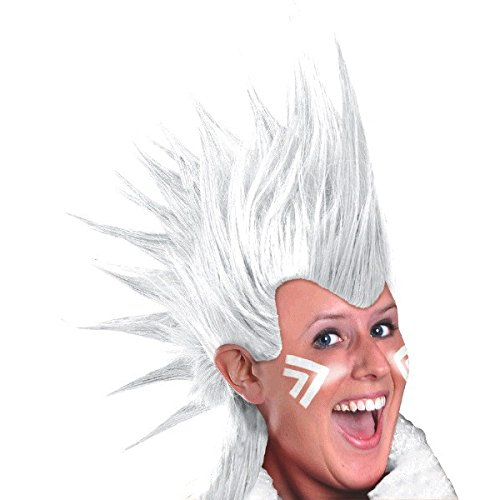 (Amscan Party Perfect Team Spirit Crazy Mohawk Wig (1 Piece), White, 11 x 8)