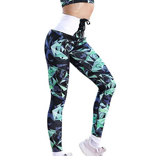 HULKAY Geometric Print Tie Hip Hugger Yoga Pants for Women High Waist Tummy Control Sports Leggings Way Stretch Trouser(Green,L)