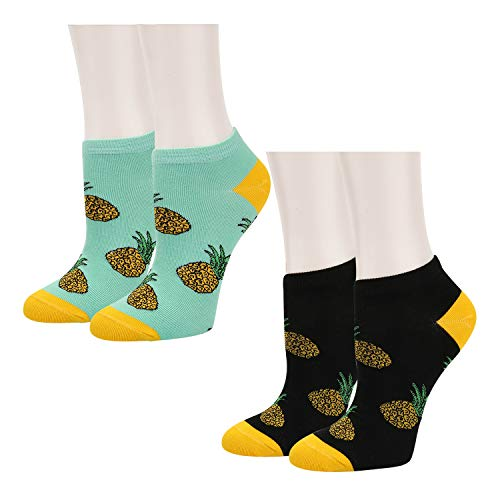 Women Girls Novelty Funny Cute Pineapple No Show Low Cut Cozy Ankle Socks 2 Pack