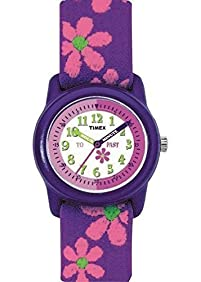 Timex Girls Children Kids Youth Time Teacher Learning Adjustable Strap Watch - Purple Floral