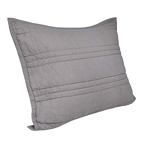 Elegant Life Zen Collection 2 Layers Cotton Crinkle Gauze Stripe Embroidery Washed Pillow Sham, King 20'' x 36'', Gray