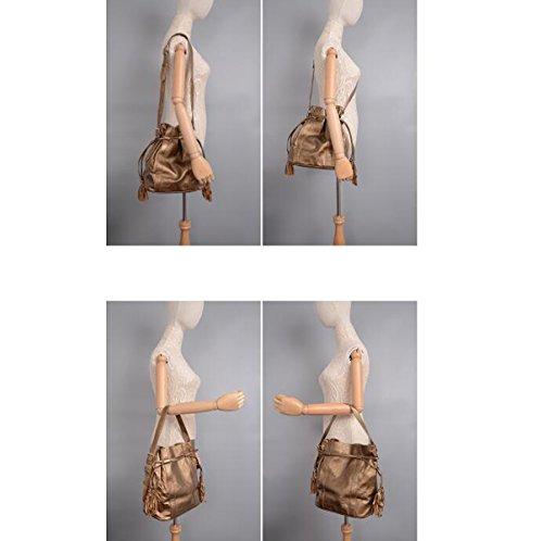 Mujer PU paquetes De Cubo Nuevas Modas Borlas Cuerdas Solo Bolso De Hombro Bolso Bolso De Hombro Inclinado Gold