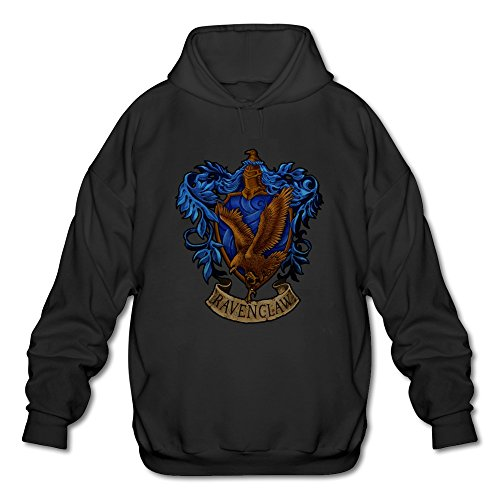 [AOPO Harry Potter Ravenclaw LOGO Men's Long Sleeve Hooded Sweatshirt / Hoodie Black] (Rowena Ravenclaw Costume)