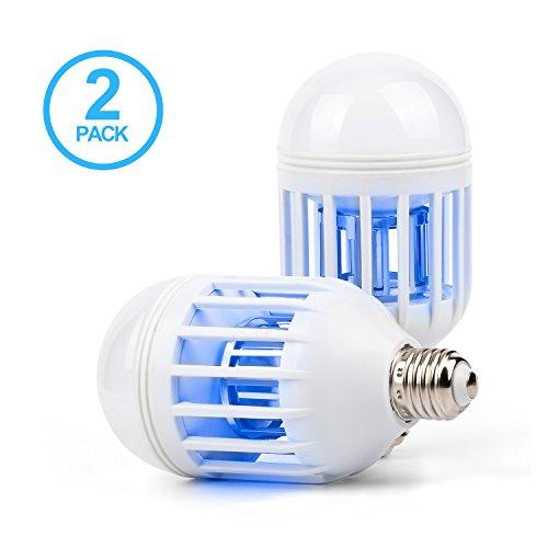 Avriaid Mosquito Killer Lamp, 110V Bug Zapper Light Bulb, Universal E26/E27 Light Bulb Socket, Electronic Insect Killer for Indoor Outdoor Garden Patio Backyard (2 PACK)