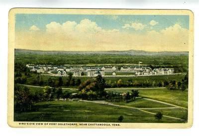 Postcard Birdseye View (Birds Eye View Postcard of Fort Oglethorpe near Chattanooga Tennessee)