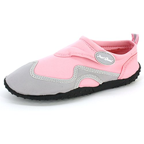 Just Speed Women Aqua Shoes Aqua Socks- Breathable Material, Maximum Slip Resistances and Feet Protection Pink-gray