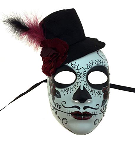 (KBW Adult Unisex Male Day of Dead Full Face Mask with Top Hat, Sugar Skull Multicolored One Size Mexican Spanish Tradition Halloween Costume)