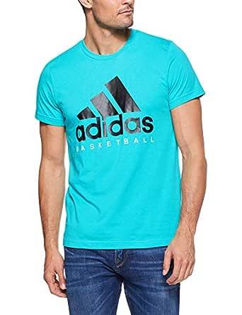 adidas Men's CW9264 Basketball Graphic Tee T-Shirt, Hi-Res Aqua/Black/White, Medium