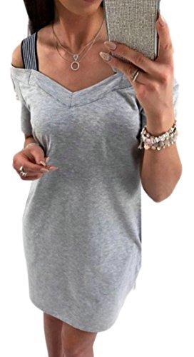 Summer Casual Midi Straps Womens Neck Gray Cruiize Dresses Stitching V IBwqYU5g