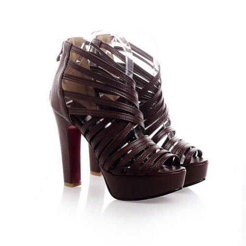 VogueZone009 Womens Open Toe High Heel Platform Chunky Heels PU Soft Material Solid Sandals with Zipper Brown Nim0c