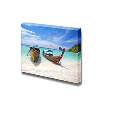 Beautiful Scenery Seascape of Two Boats on White Beach and Clear Sea Wood Framed - Canvas Art Wall Art - 16