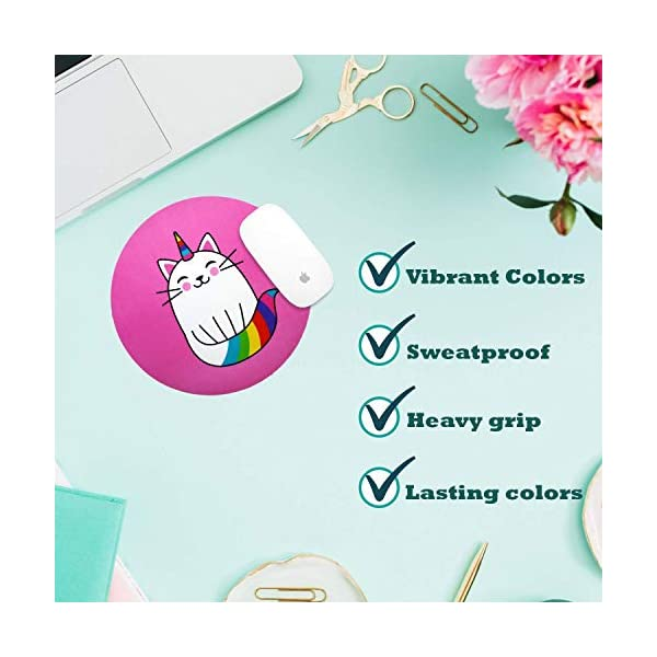 Cute Mouse Pad With Premium Package Easy To Cleanwaterproof Cat Mouse Pad Non Slip Rubber Round Pink Mouse Pad Rainbow Colors For Kids Office Laptop Computer Womengirls By Woof