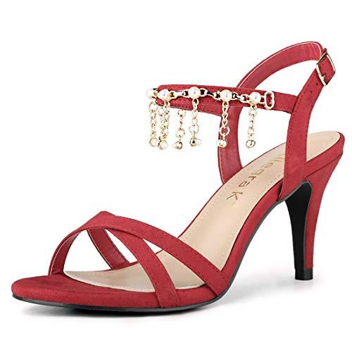 Allegra K Women's Criss Cross Band Slingback Stiletto Heel Red Sandals - 7 M US ()