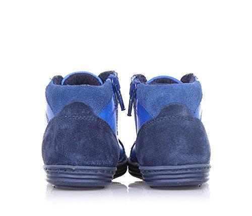 BIKKEMBERGS - Blauer Sneaker mit Schnürsenkel, aus Leder und Wildleder, seitlich ein Reißverschluss, sichtbare Nähte, Jungen