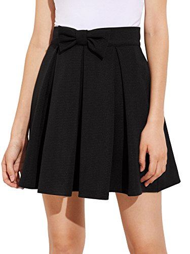 SheIn Women's Basic Solid Flared Mini Skater Skirt Medium Black#